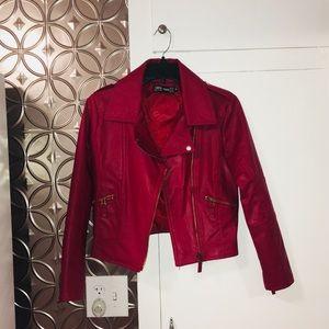 Zara Faux Red Leather Jacket